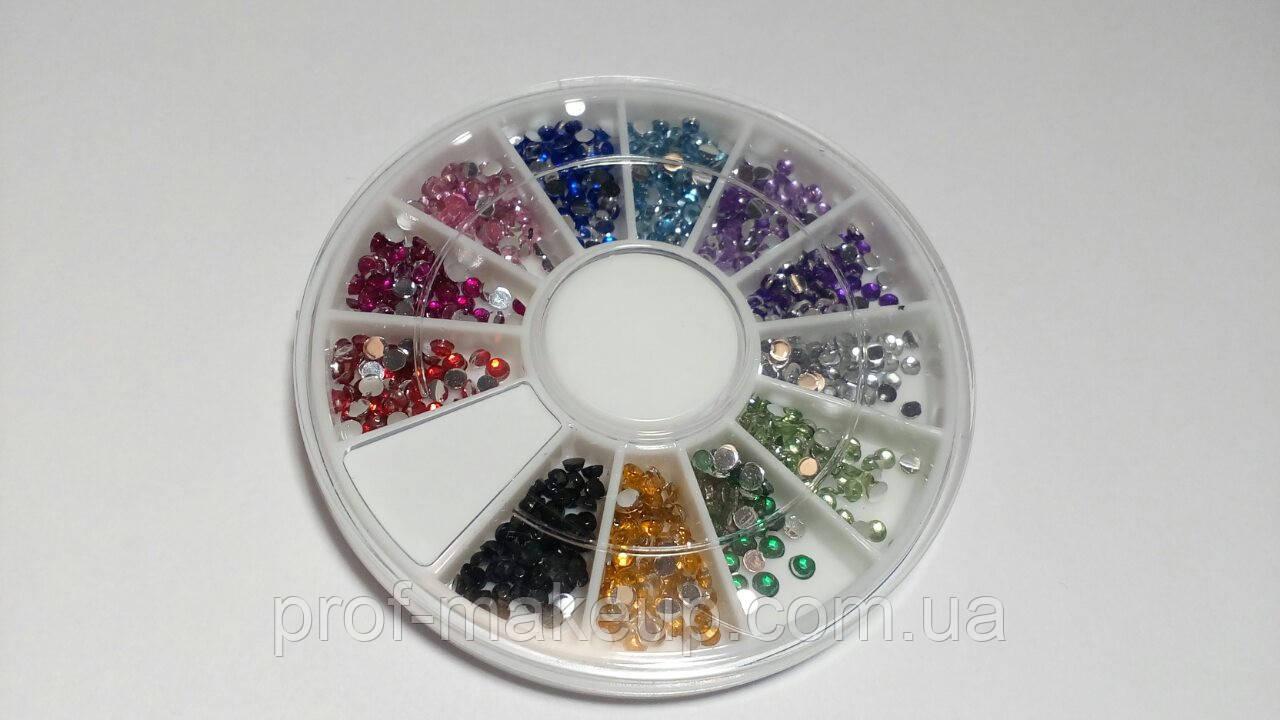 Камни цветные в карусели, для дизайна ногтей