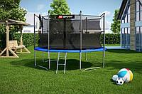 Батут спортивный для детей Hop-Sport диаметром 366см (12ft) с лестницей и внутренней сеткой