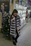 Полосатая шубка из бобрика (натуральный мех), черно-серая, рукав 3/4