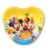 """Тарелки бумажные одноразовые детские """"Микки и Минни Маус с тортиком"""" в виде сердца, 18 см, 10 шт/уп."""