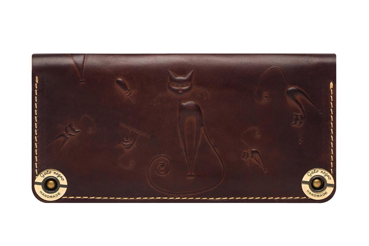 7c3cd735ebd3 Кожаный кошелек ручной работы Gato Negro Catswill женский, коричневый  (женские кошельки из натуральной кожи