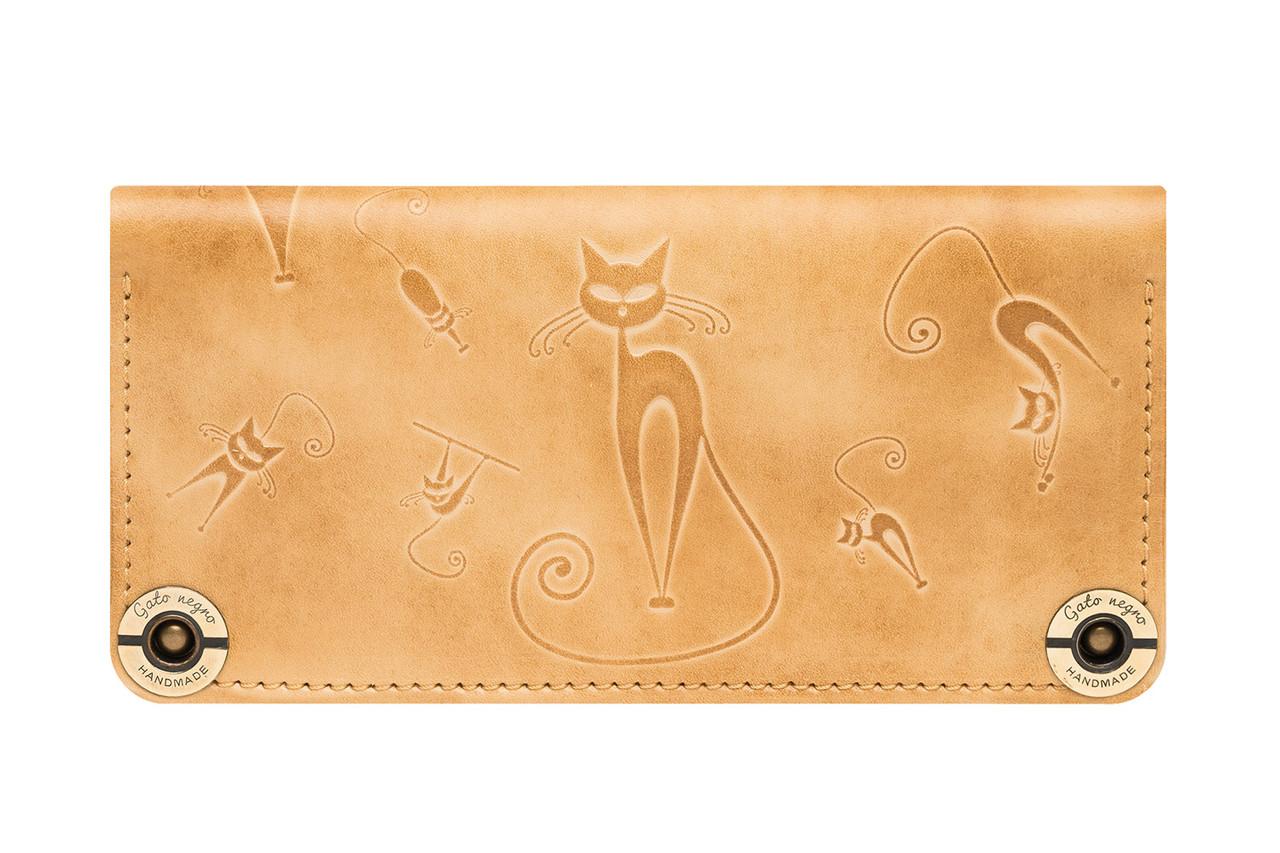 53613c8a8161 Кожаный кошелек ручной работы Gato Negro Catswill женский, бежевый (женские  кошельки из натуральной кожи