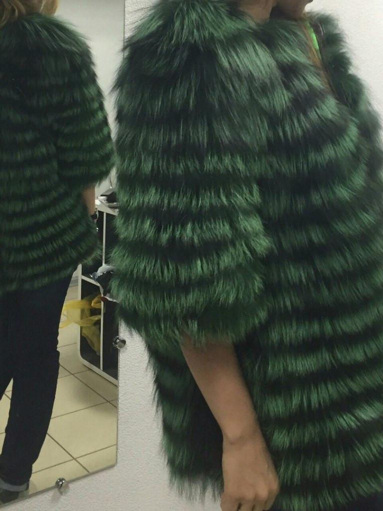 Женская шуба из меха чернобурки, зеленая крашенная (225)