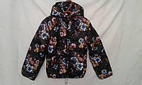 Куртка детская   ''Цветы'' для девочки 4-8 лет, черная с синим