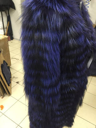 Шуба из меха чернобурки, синяя