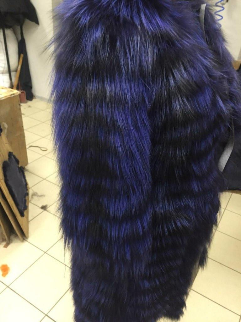 Женская шуба из меха чернобурки, фиолет крашенная (226)