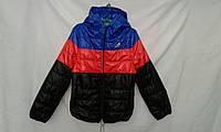 Куртка детская   ''Полоска'' для мальчиков 4-8 лет,черная,красная,синяя