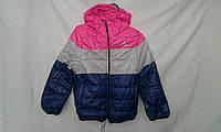 Куртка детская   ''Полоска'' для девочек 4-8 лет,синяя,серая,розовая