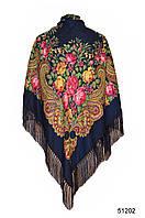 Купить платок с народным орнаментом темно-синий 140*140