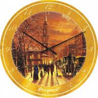 Часы настенные из стекла - Старый город(немецкий механизм)