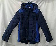 Куртка  подросток парка для мальчика 10-14 лет,темно синяя с синим