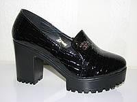 Женские туфли под рептилию на тракторном каблуке эко кожа, питон