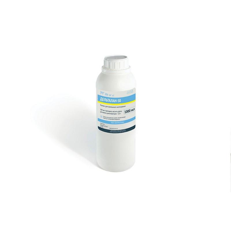 Дельталан-50 (дельтаметрин 50 мг) 1 л ветеринарный купочный препарат против вшей, блох, мух, клещей