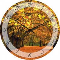 Часы настенные из стекла - осенний парк(немецкий механизм)