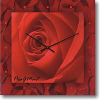 Часы настенные из стекла - Алая роза (немецкий механизм)