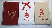 Подарочный набор полотенец с вышивкой 3шт Сердце и пламя