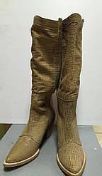 Женские сапоги кожаные летние на небольшом каблуке Ripicca Vero Cuoio