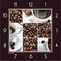 Часы настенные из стекла - кофе(немецкий механизм)