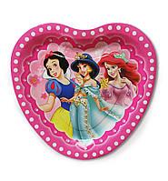 """Тарелки бумажные одноразовые детские """"Три Принцессы"""" в виде сердца, 18 см, 10 шт/уп."""