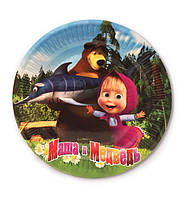 """Тарелки бумажные одноразовые детские """"Маша и Медведь"""", 18 см, 10 шт/уп."""