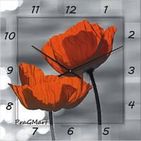 Часы настенные из стекла - Маки(немецкий механизм)