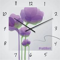 Часы настенные из стекла - сиреневые цветы(немецкий механизм)