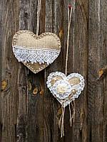 Сердечки из мешковины,подвеска