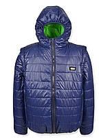 Детская демисезонная куртка-жилетка на подростка, темно-синяя, р.146-158