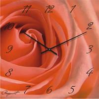 Часы настенные из стекла - Коралловая роза(немецкий механизм)