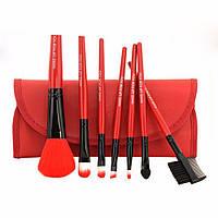 Набор кистей для макияжа 7 штук в футляре- чехле-органайзере красный