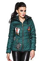 Стильная женская куртка Линда(бутылочный) 52
