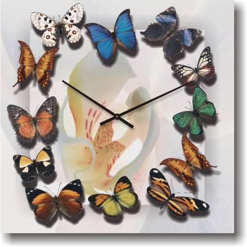 """Часы настенные из стекла - Бабочки(немецкий механизм) - Интернет магазин настенных часов """"US-TIME"""" в Николаеве"""