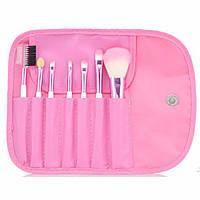 Набор из 7 кистей для макияжа в футляре-чехле-органайзере на завязке-ленточке розовый