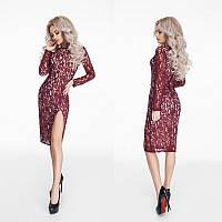 Красивое гипюровое платье миди с разрезом.Цвет марсала.