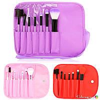 Набор кистей из 7 штук для макияжа в футляре-чехле-органайзере на завязке-ленте фиолетовый