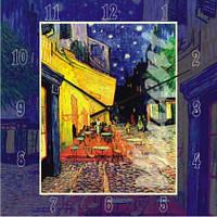 Часы настенные из стекла - Ван Гог - Ночное кафе(немецкий механизм)