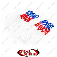Сетка баскетбольная C-4562 (полипропилен,13 петель, яч. р-р 6x6см,цвет бело-красно-синий, в компл. 2 шт.)
