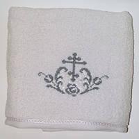 Крыжма полотенце для крещения «Крестик с орнаментом» с двух сторон