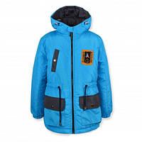 Детская демисезонная куртка на мальчика удлиненная, голубая, р.128,134