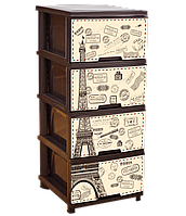 Комод 4 ящика, с декором Париж