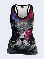 Майка-борцовка Кот в космических очках