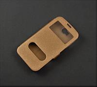 Чехол книжка Huawei Y5c Y541-U02 золотистый 2 окошка