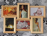 Фоторамка на стену, рамка на 6 фото, бежевая.