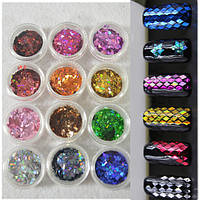 Набор ромбиков для декора ногтей(12шт)