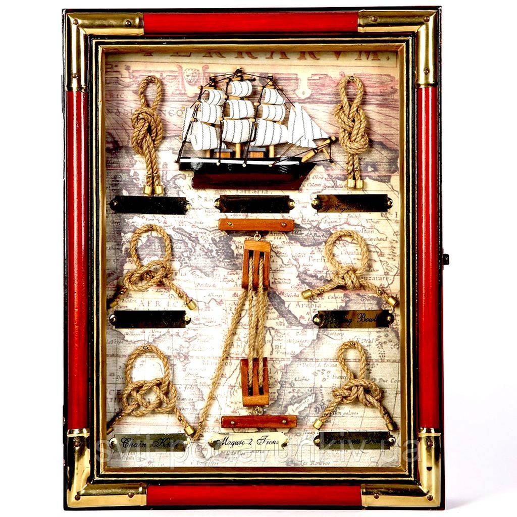 Настенная ключница с изображением парусника