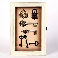 "Ключница настенная белая для ключей ""Ключики"""