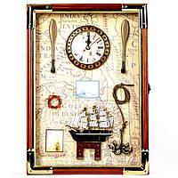 Настенная ключница с часами в морском стиле 35625A