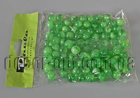 Бусы двухцветные зеленые 10 мм 50 гр