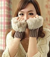 Женские вязаные перчатки без пальцев с мехом, варежки, митенки