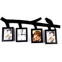 Настенные часы мультирамка коллаж на 3 фотографии T2033